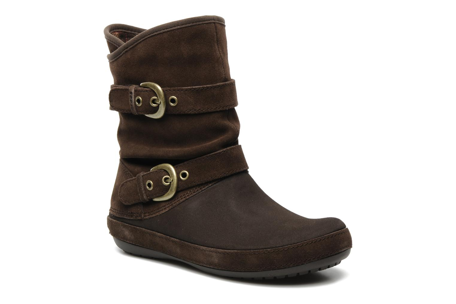 crocs berryessa suede buckle boot ankle boots in brown at