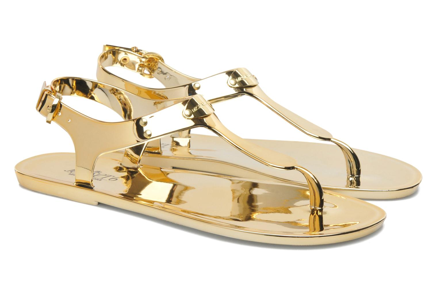 michael michael kors mk plate jelly sandals in bronze and gold at 206821. Black Bedroom Furniture Sets. Home Design Ideas