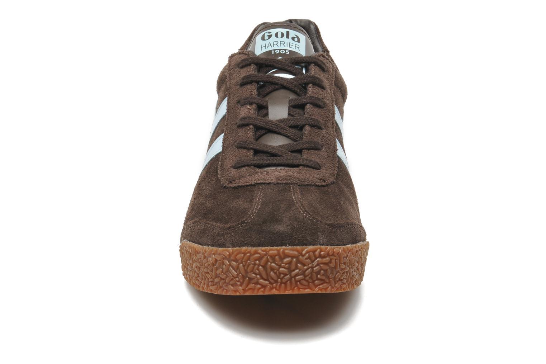 Sneaker Gola Harrier braun schuhe getragen