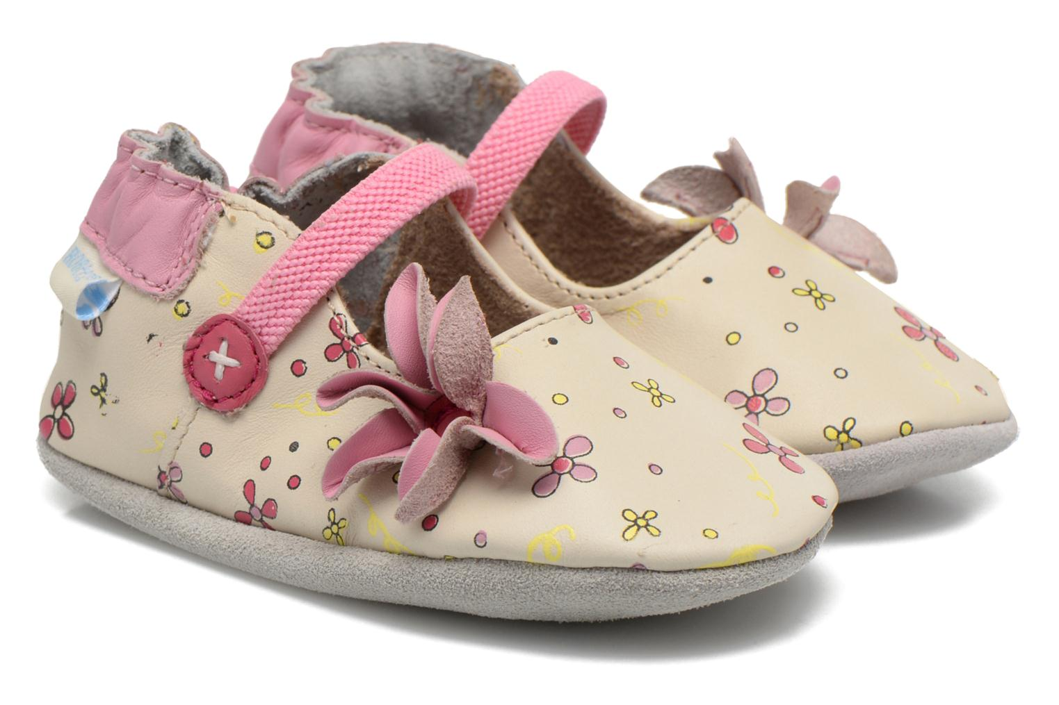 Slippers Robeez Flower Power Beige detailed view/ Pair view