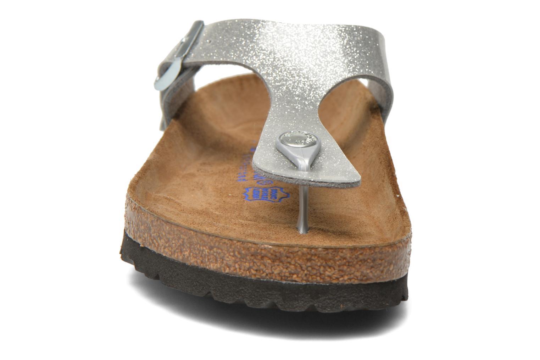 Sandalen Birkenstock Gizeh Flor W silber schuhe getragen
