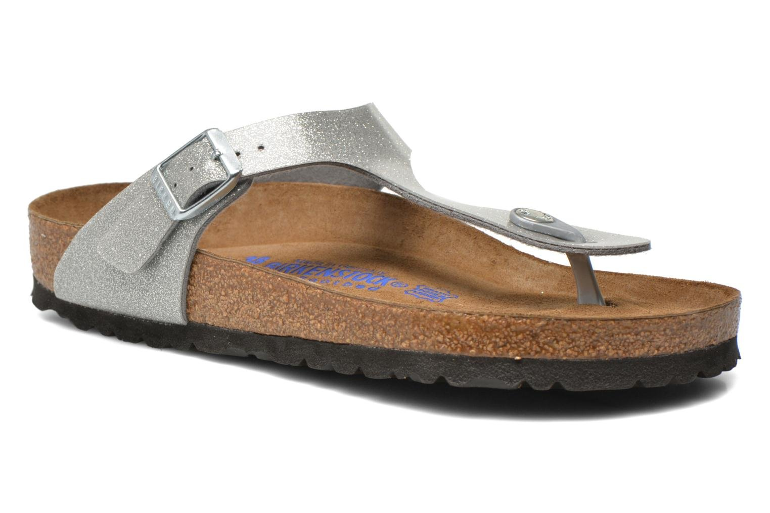 Sandals Birkenstock Gizeh Flor W Silver detailed view/ Pair view