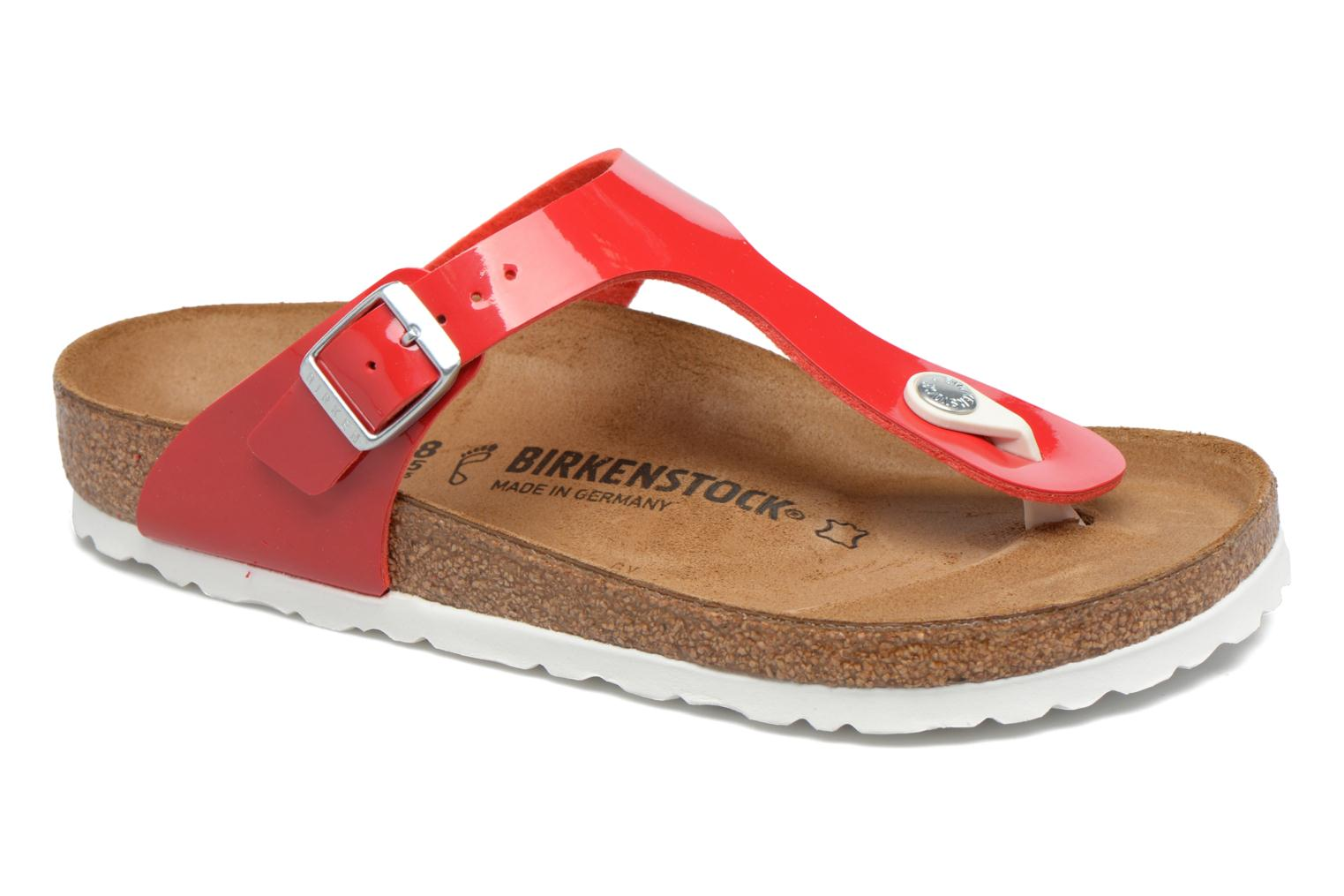 Sandals Birkenstock Gizeh Flor W Red detailed view/ Pair view
