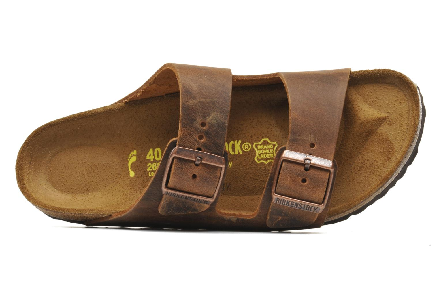 Sandalen Birkenstock Arizona Cuir M Bruin links