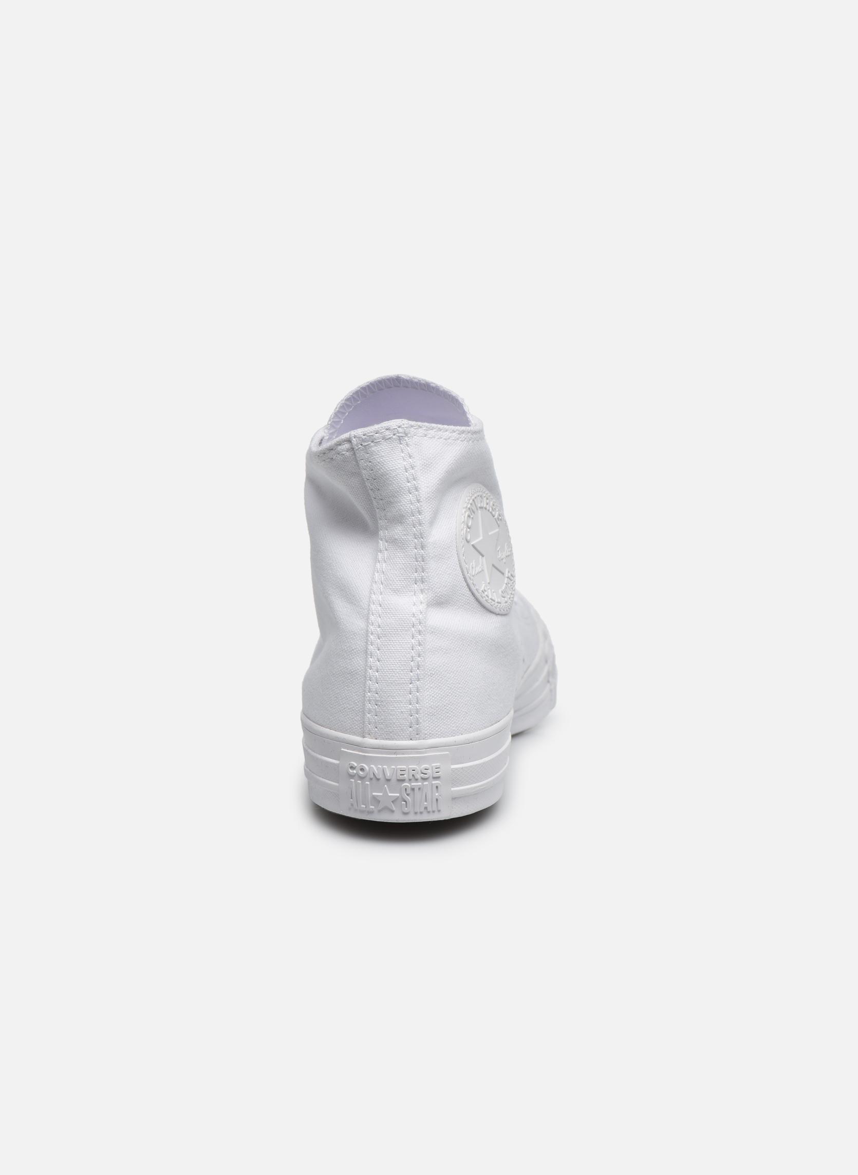 Sneaker Converse Chuck Taylor All Star Monochrome Canvas Hi W weiß ansicht von rechts