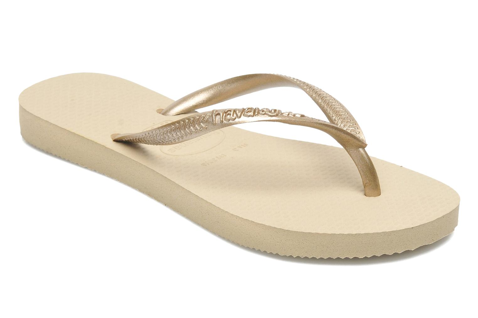 Flip flops Havaianas Kids Slim Bronze and Gold detailed view/ Pair view