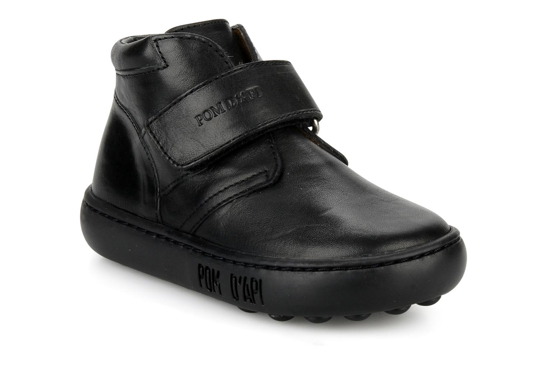 Chaussures à scratch Pom d Api Walk Desert Velcro Noir vue détail/paire