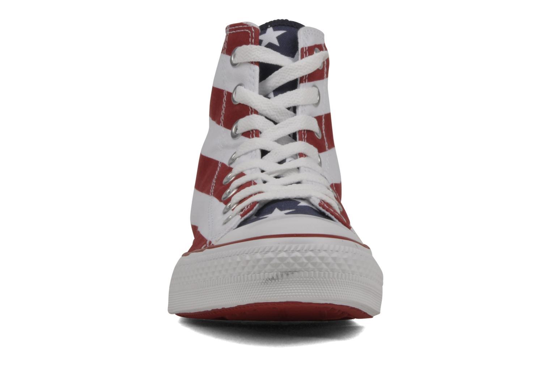 Sneaker Converse Chuck Taylor All Star Stars & Bars Hi M weiß schuhe getragen