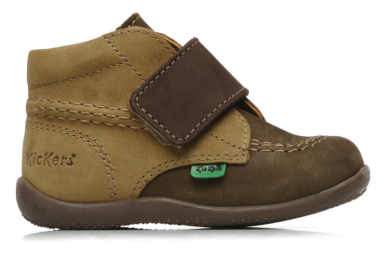 Schoenen met klitteband Kickers Bilou Bruin achterkant