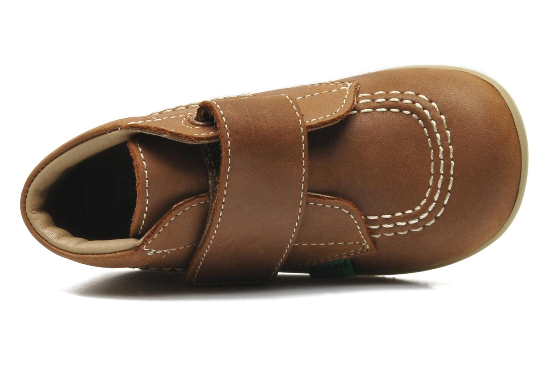 Zapatos con velcro Kickers Bilou Marrón vista lateral izquierda