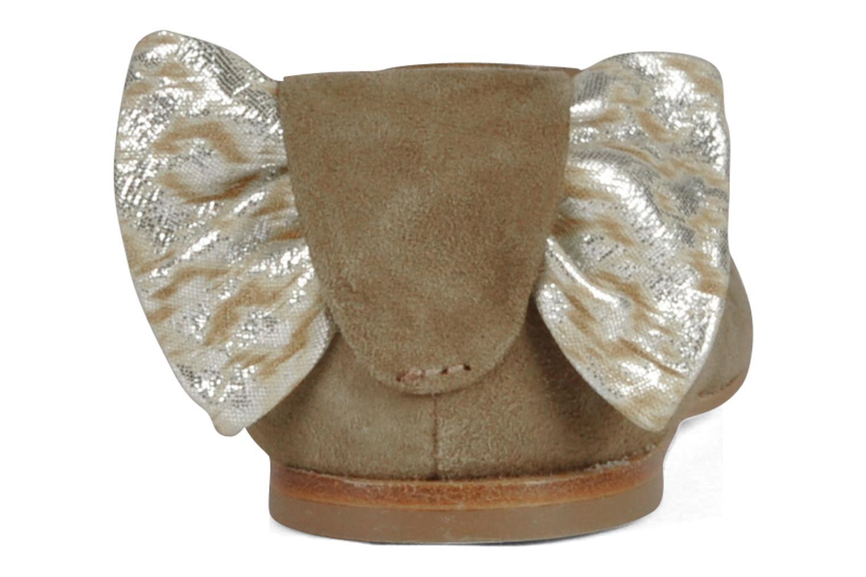 Petite Celia Suede Beige Graphic Silver Leather