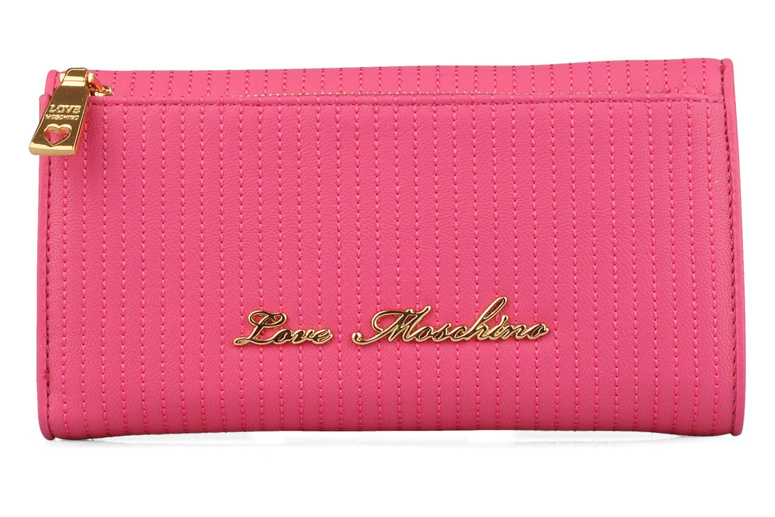 Petite Maroquinerie Love Moschino Mosquilted large double zipper Rose vue face