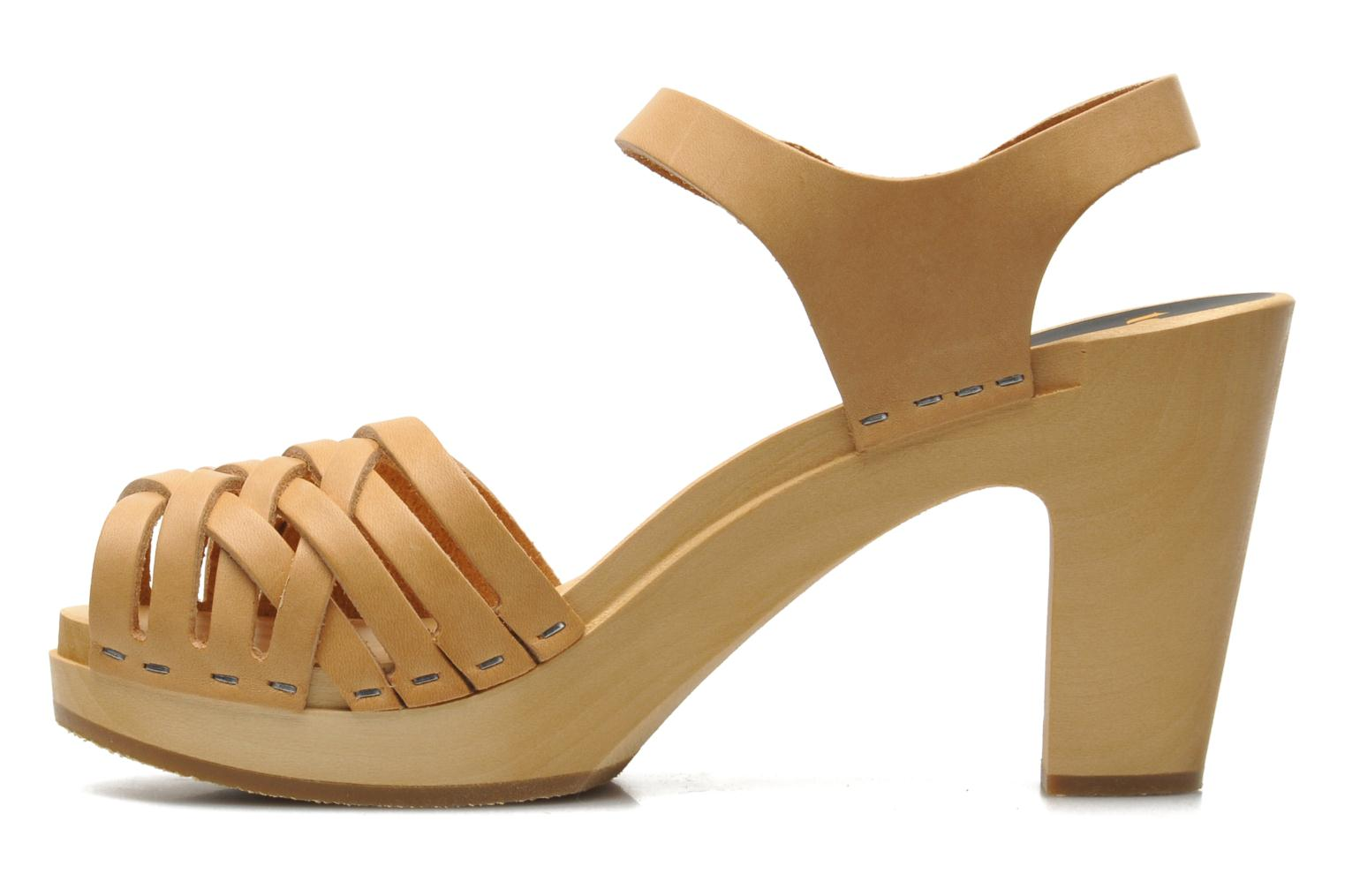 Sandales et nu-pieds Swedish Hasbeens Braided sky high Beige vue face