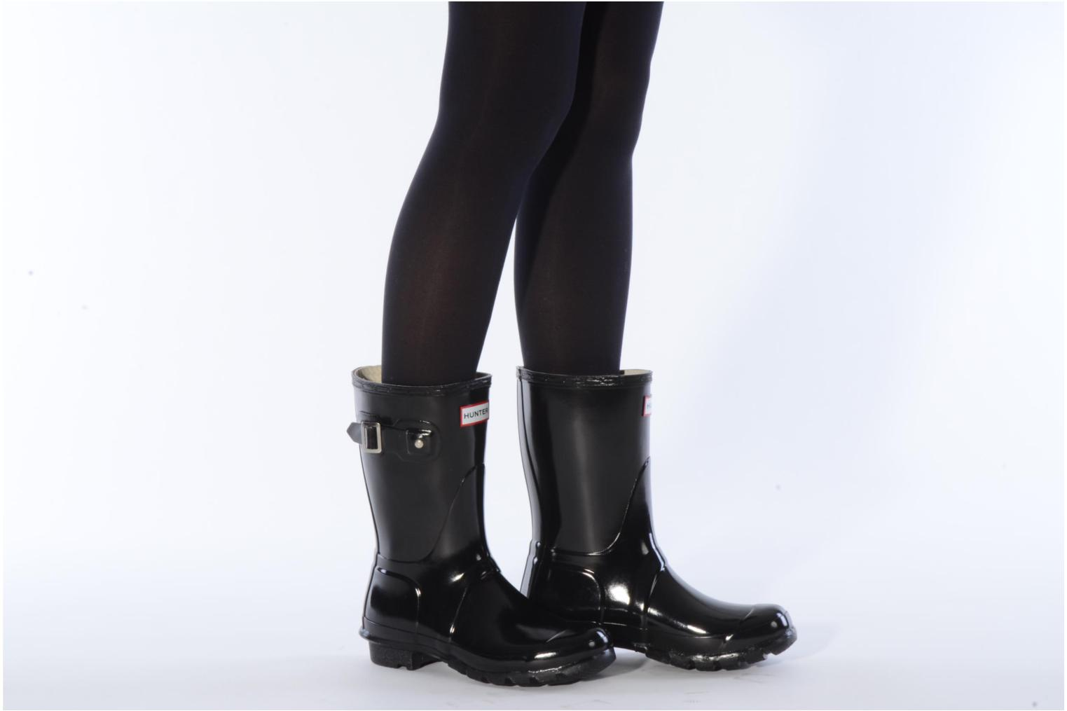Bottines et boots Hunter Original short gloss Noir vue bas / vue portée sac