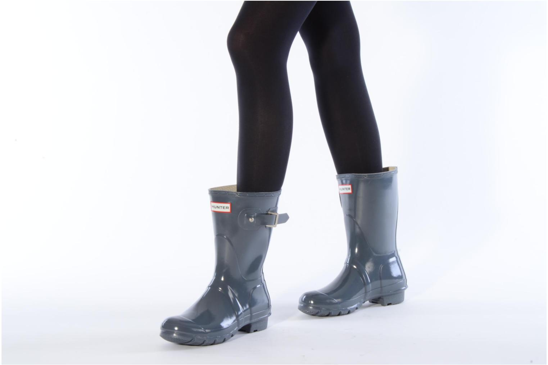 Bottines et boots Hunter Original short gloss Gris vue bas / vue portée sac
