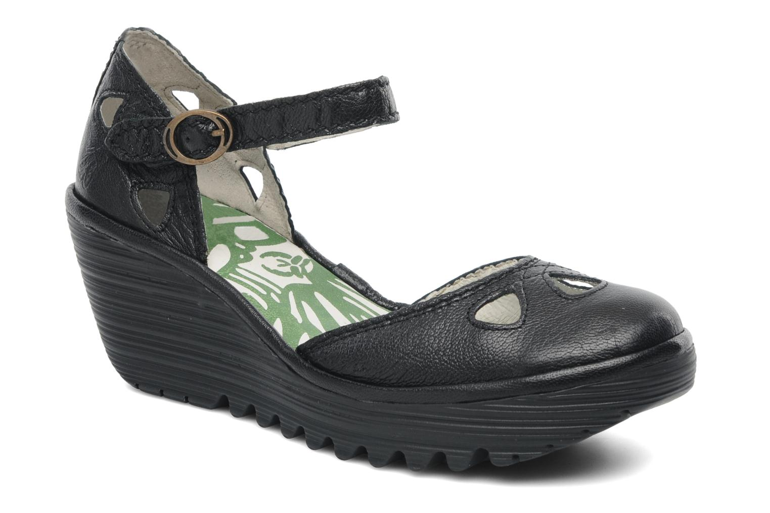 Sandals Fly London Yuna Black detailed view/ Pair view