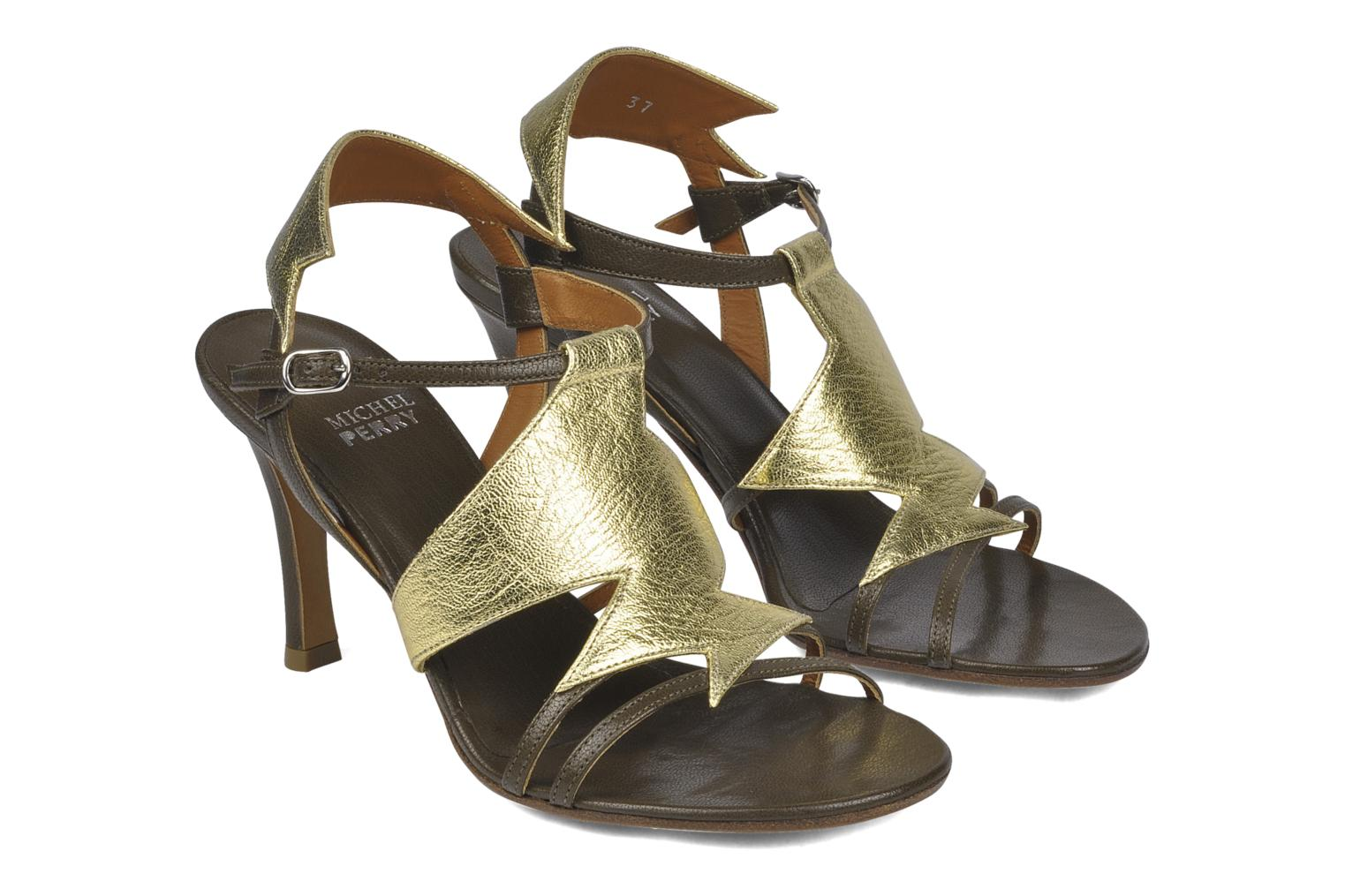 Sandals Michel Perry Themis Bronze and Gold 3/4 view
