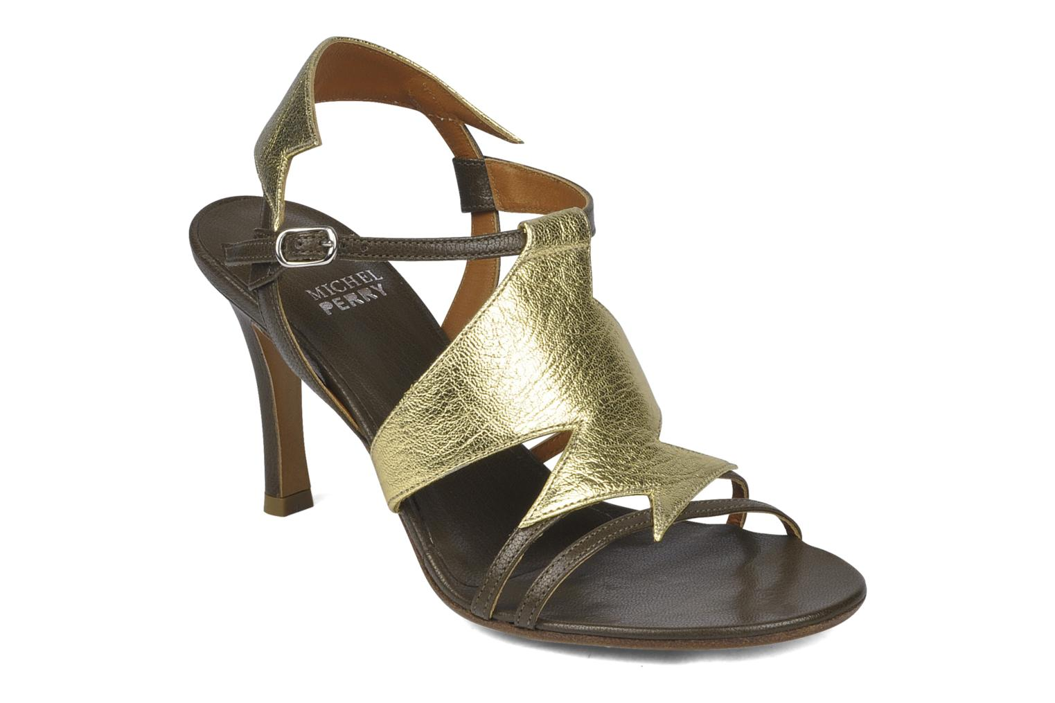 Sandals Michel Perry Themis Bronze and Gold detailed view/ Pair view