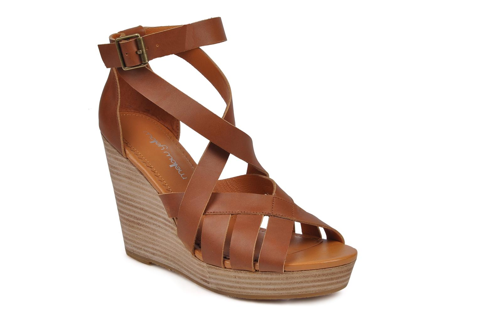 Sandals Mellow Yellow Jilson Brown detailed view/ Pair view