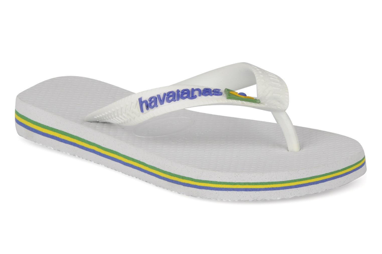 Tongs Havaianas Brasil Logo E Blanc vue détail/paire