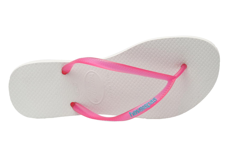 Zehensandalen Havaianas Slim logo femme rosa ansicht von links