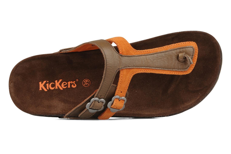 Tongs Kickers Kick magic Marron vue gauche