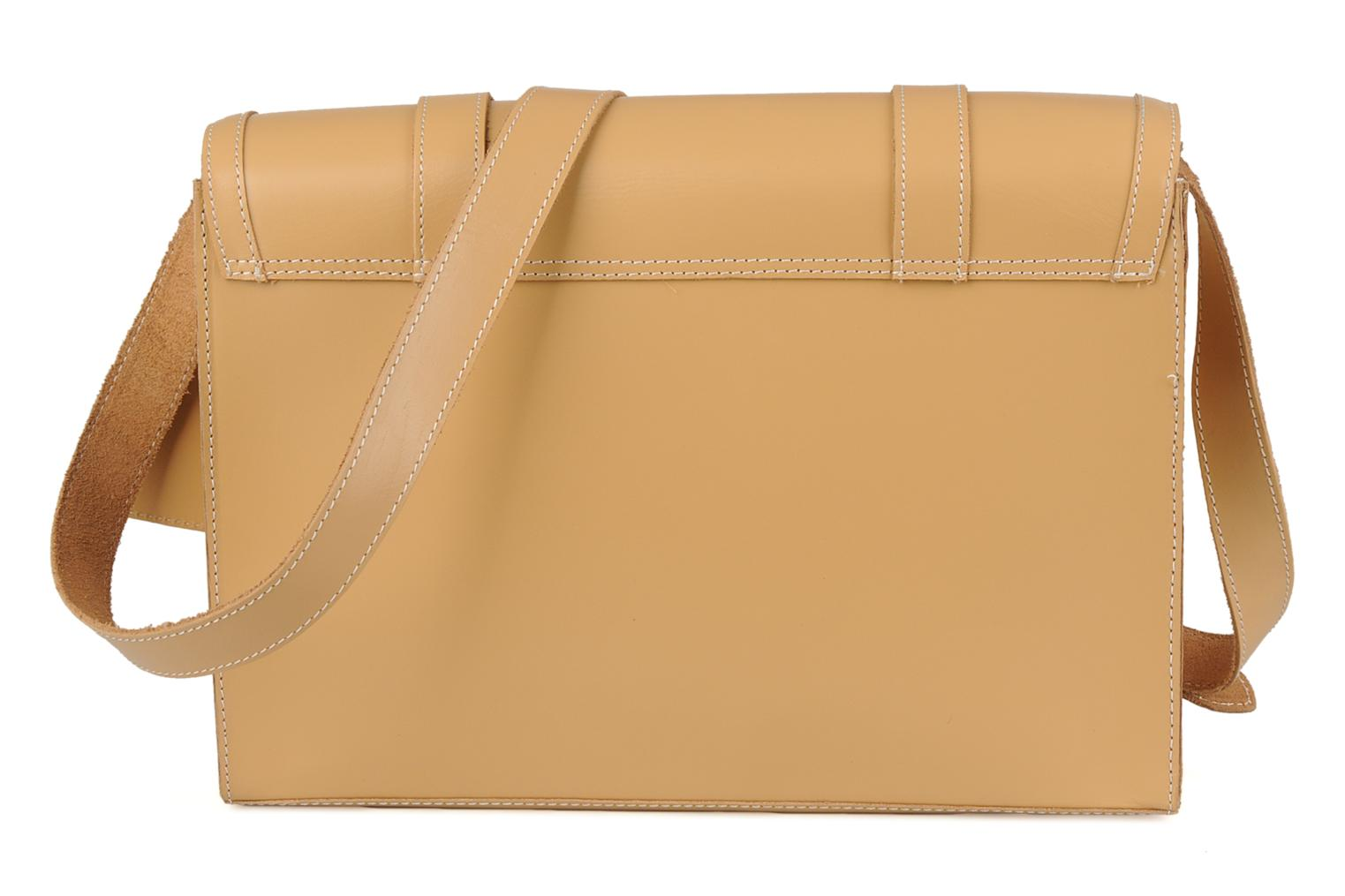 Handbags Friis & company Fold leather bag Beige front view