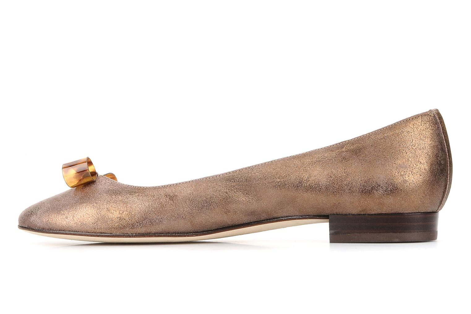 Ballet pumps Mellow Yellow Kamini Bronze and Gold front view