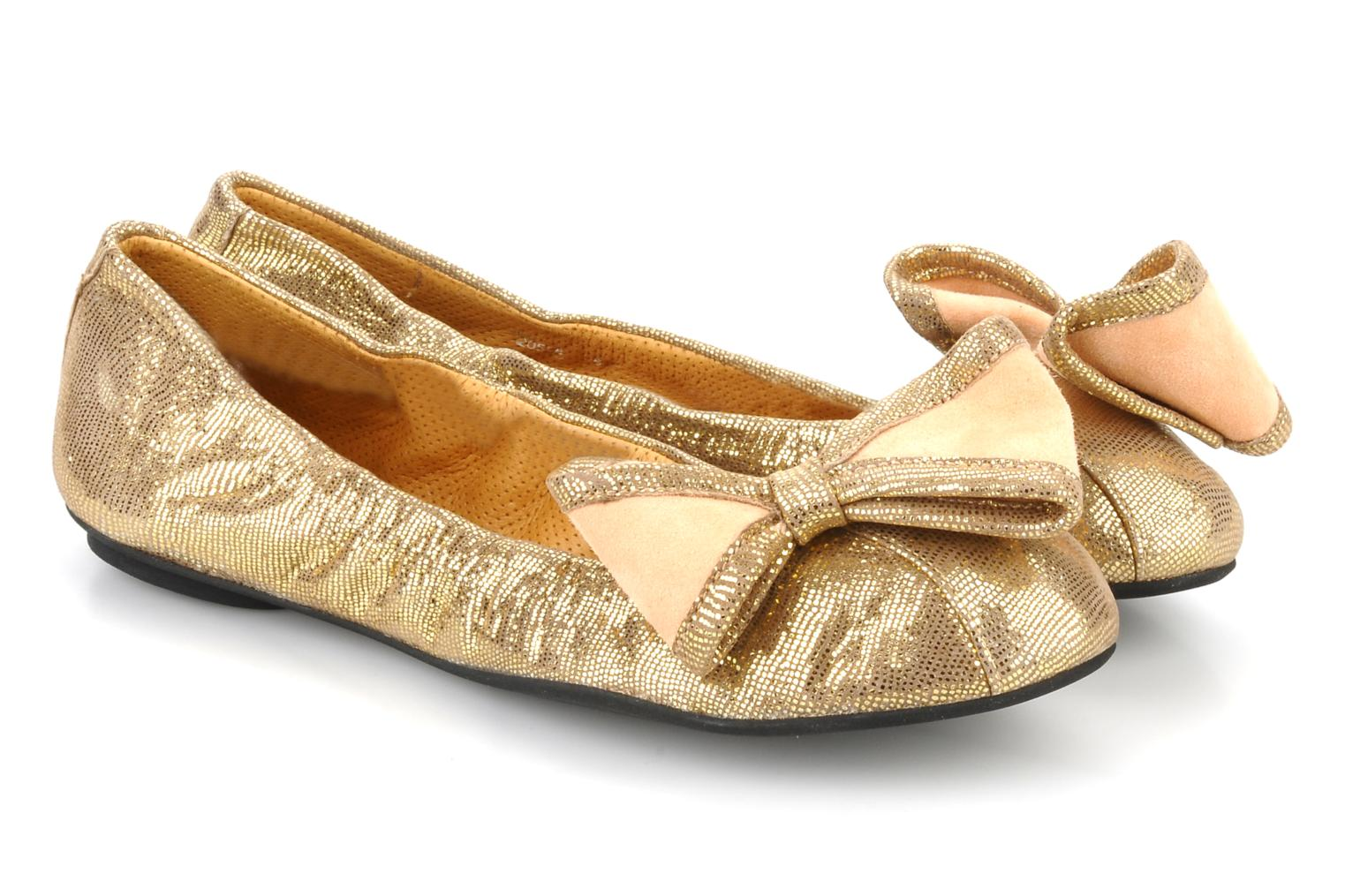 Ballet pumps Maloles Blanche Bronze and Gold 3/4 view