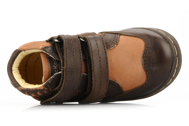 Zapatos con velcro Kickers Maellig Marrón vista lateral izquierda