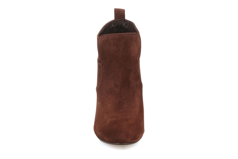Bottines et boots Tila March Wedge booty stitch suede Bordeaux vue portées chaussures