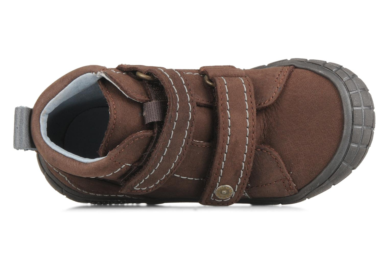 Zapatos con velcro Babybotte Axyon Marrón vista lateral izquierda