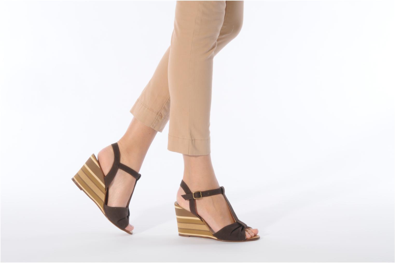 Sandales et nu-pieds Georgia Rose Dayana Marron vue bas / vue portée sac