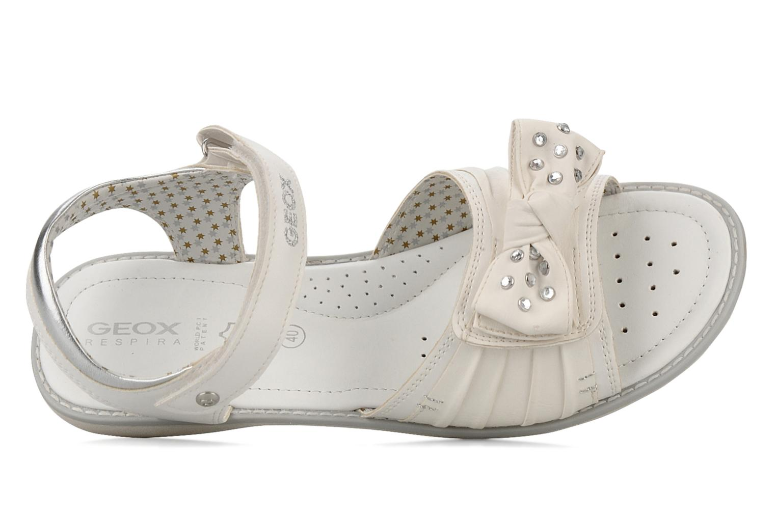 Sandals Geox J s.lime w White view from the left
