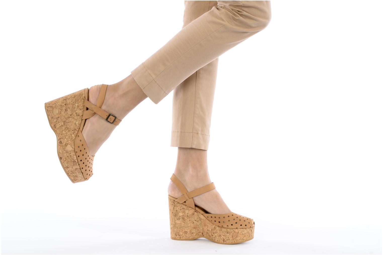 Sandales et nu-pieds Swildens Garance Beige vue bas / vue portée sac
