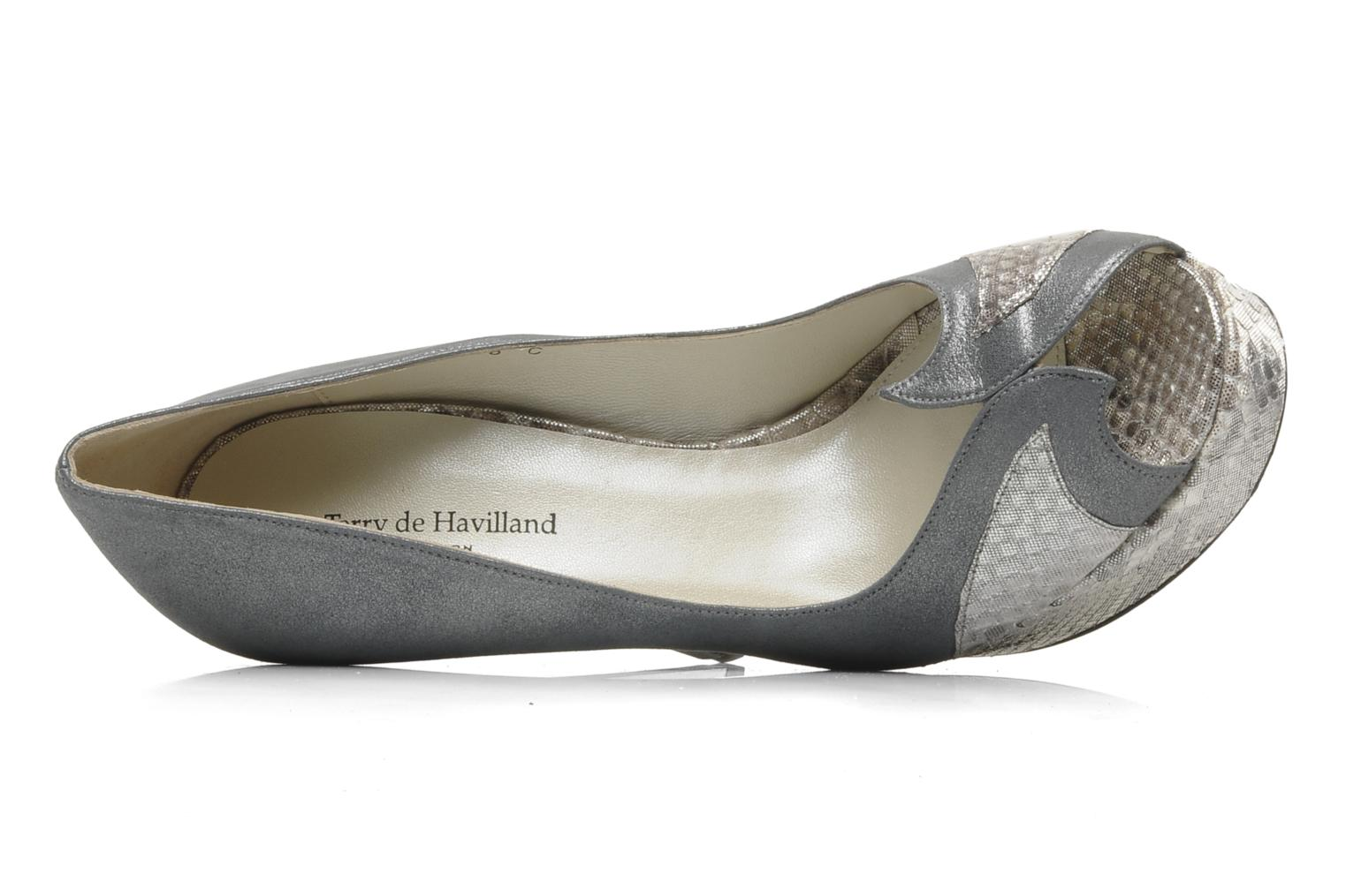High heels Terry de Havilland AMBER PYTHON Silver view from the left