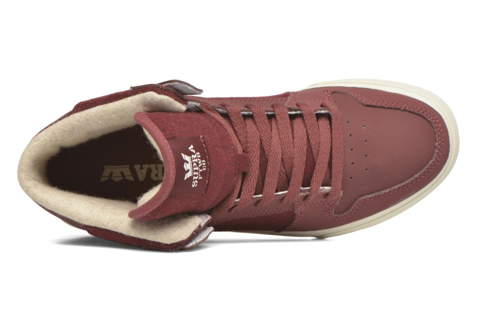 Trainers Supra Vaider Burgundy view from the left