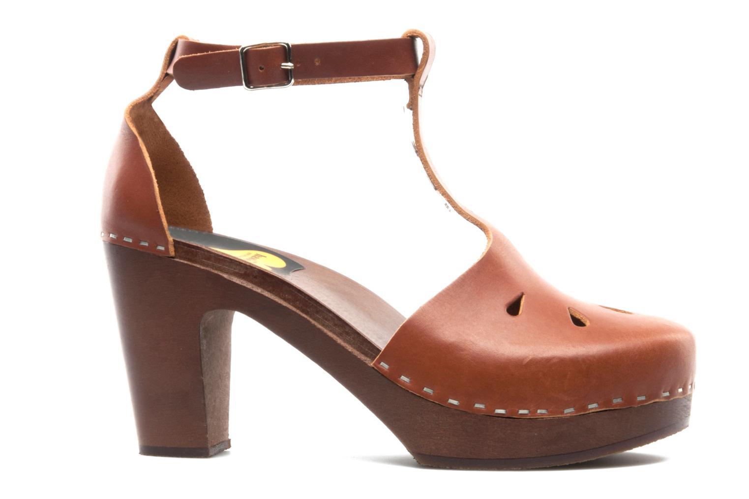 Mules & clogs Swedish Hasbeens T Bar Sandal Brown back view