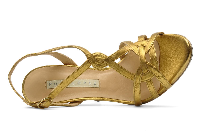 Sandalias Pura Lopez Souna Oro y bronce vista lateral izquierda