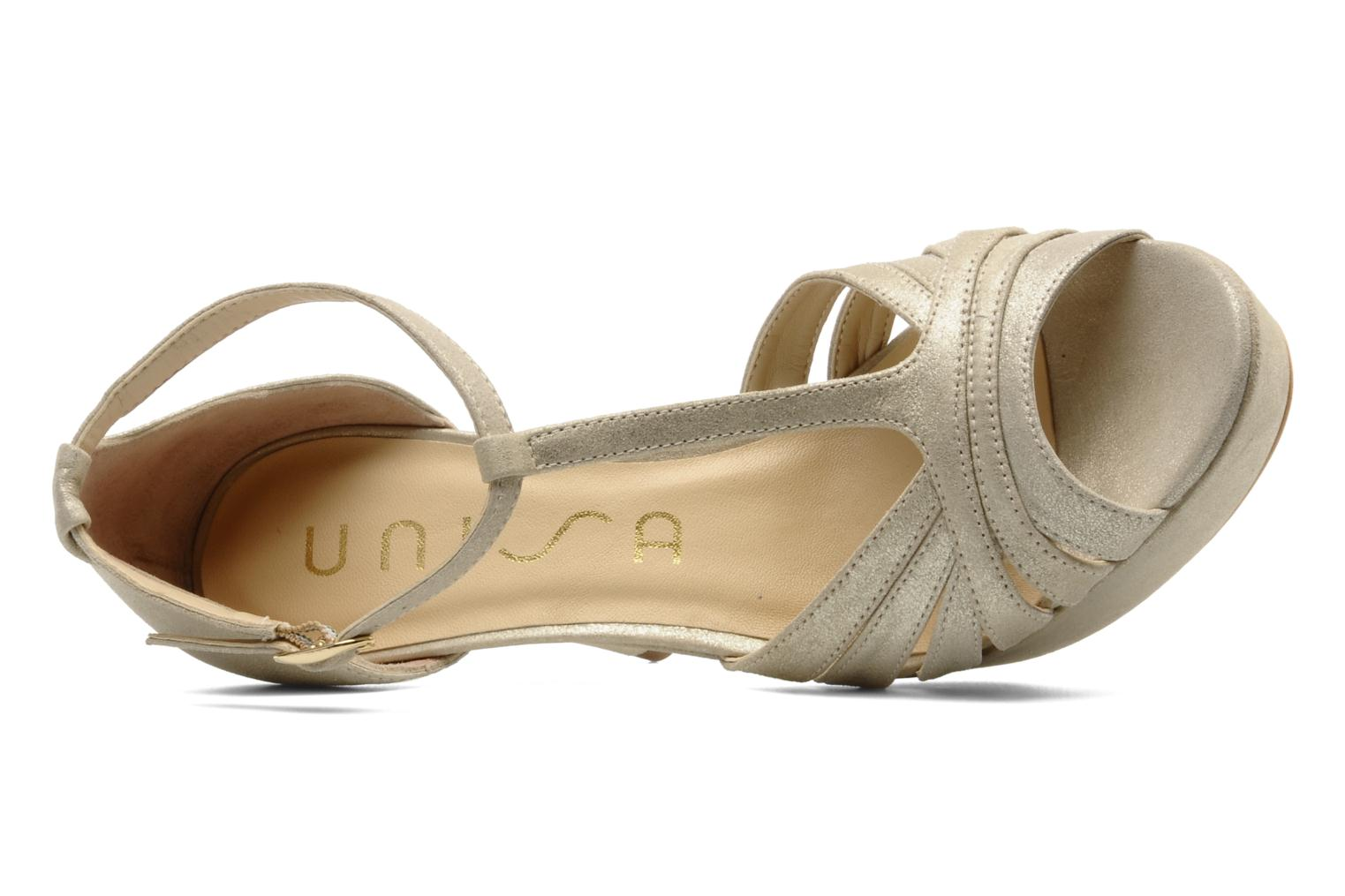Sandals Unisa Varike ms Bronze and Gold view from the left