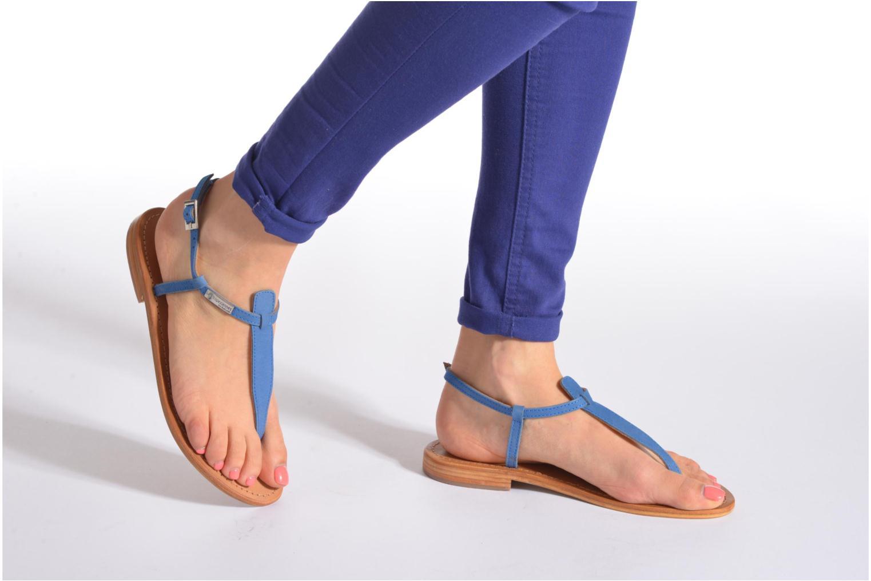 Sandalen Les Tropéziennes par M Belarbi Narbuck blau ansicht von unten / tasche getragen