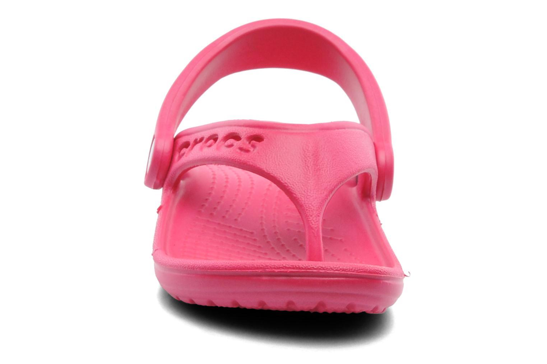 Tongs Crocs Baya Summer Flip Kids Rose vue portées chaussures