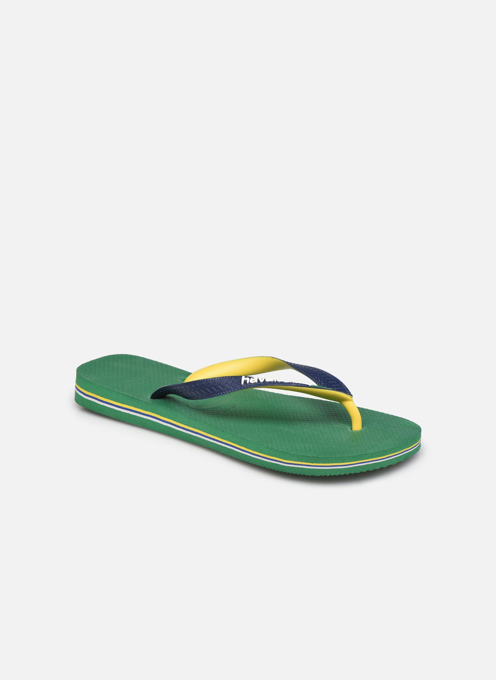 Tongs Havaianas Brasil Mix H Vert vue détail/paire