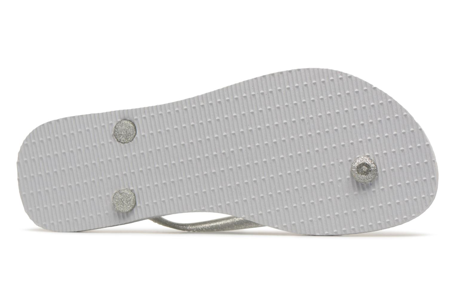Tongs Havaianas Slim Logo Metallic Gris vue haut