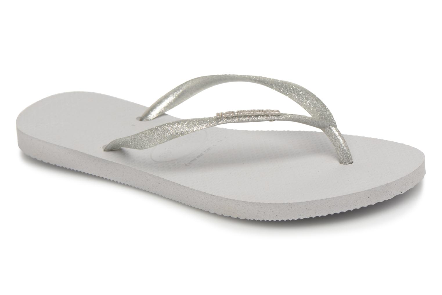 Tongs Havaianas Slim Logo Metallic Gris vue détail/paire