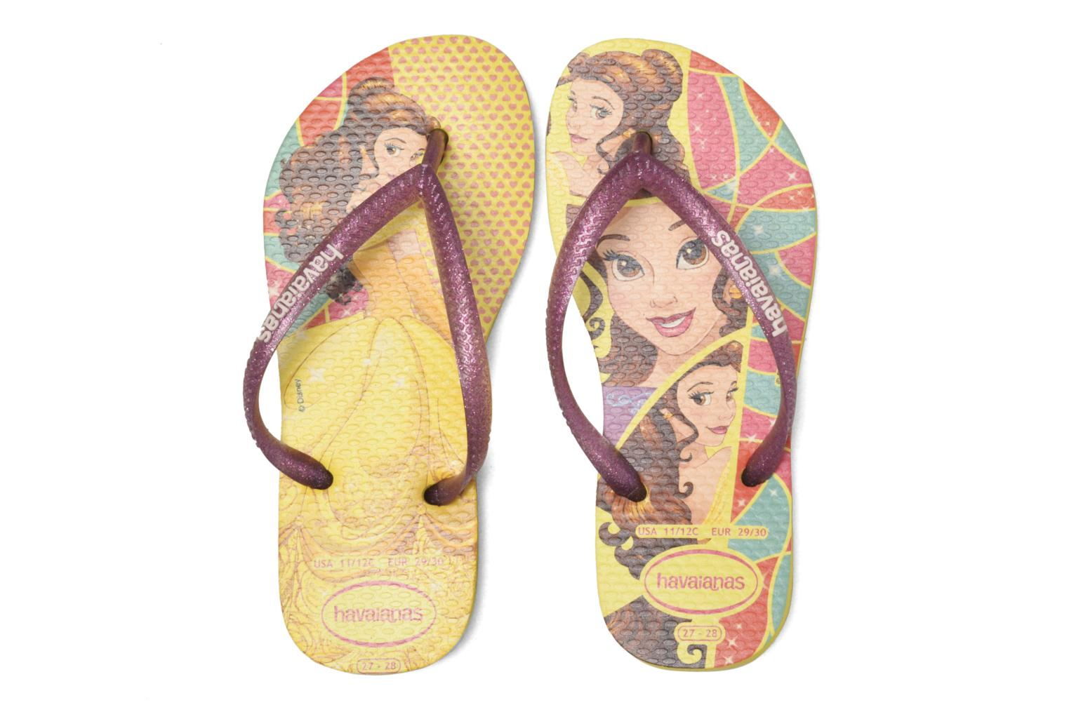 Tongs Havaianas Kids Slim Princess Jaune vue 3/4
