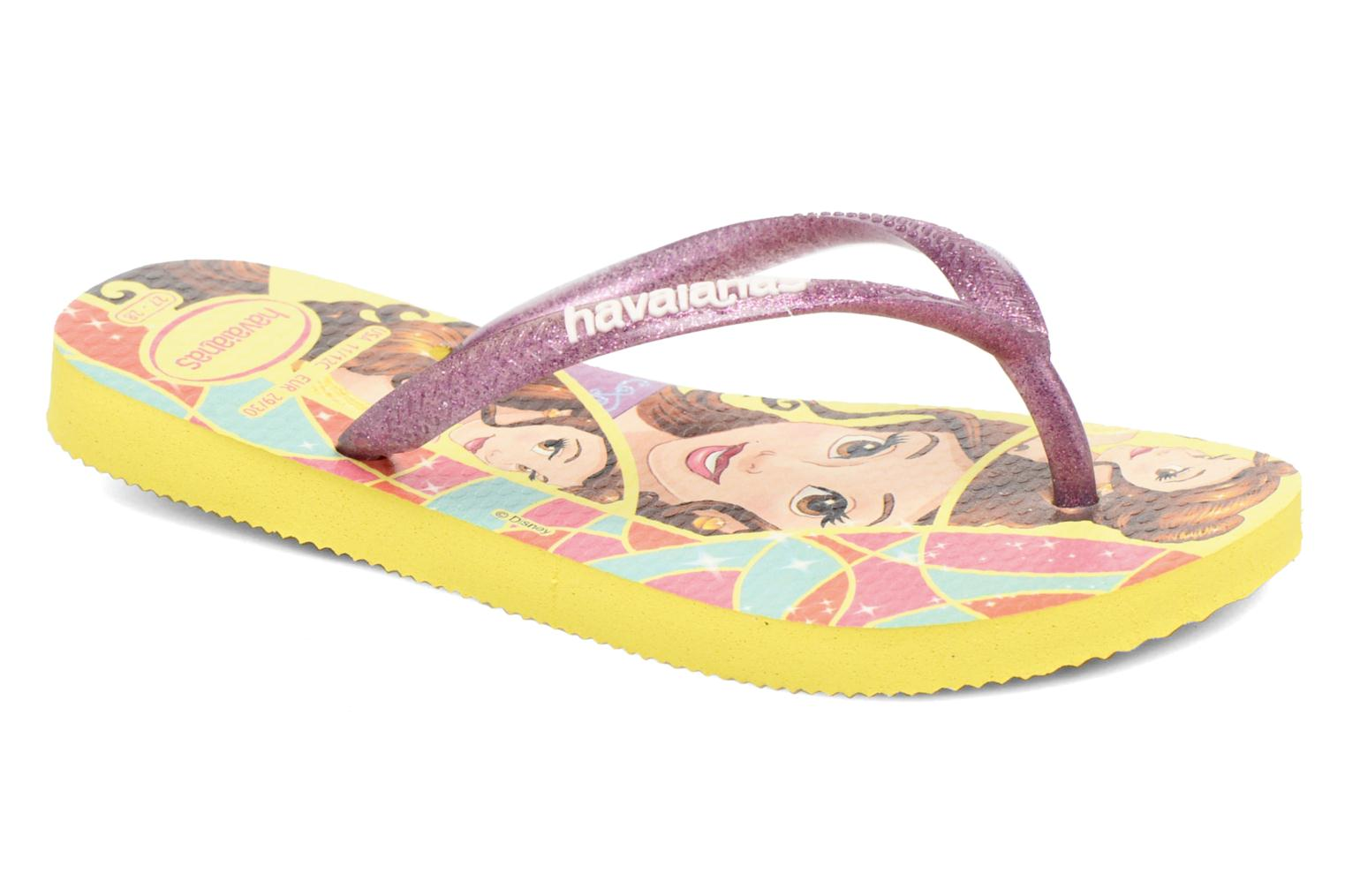 Tongs Havaianas Kids Slim Princess Jaune vue détail/paire