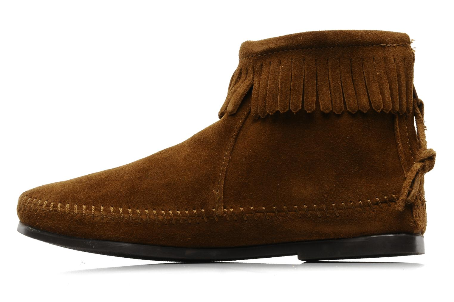 Ankle boots Minnetonka BACK ZIPPER BT Brown front view