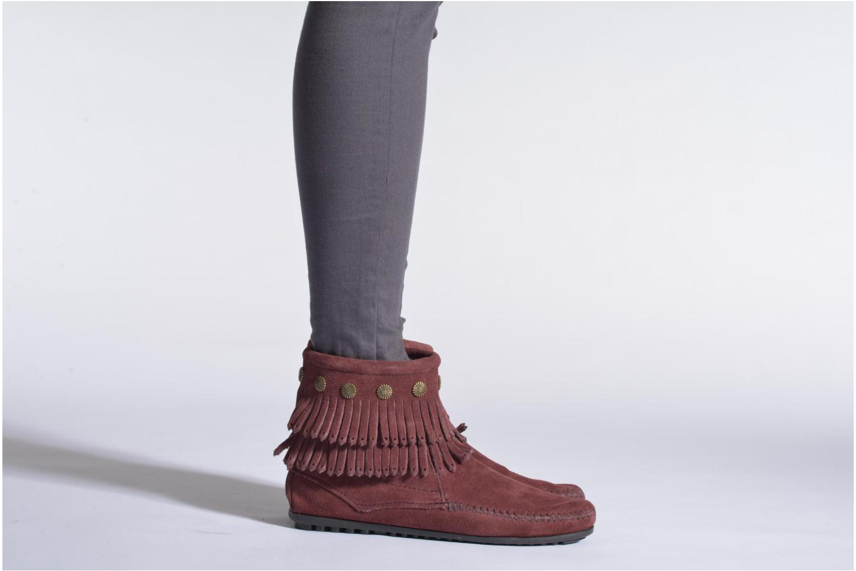 Bottines et boots Minnetonka DOUBLE FRINGE BT Vert vue bas / vue portée sac