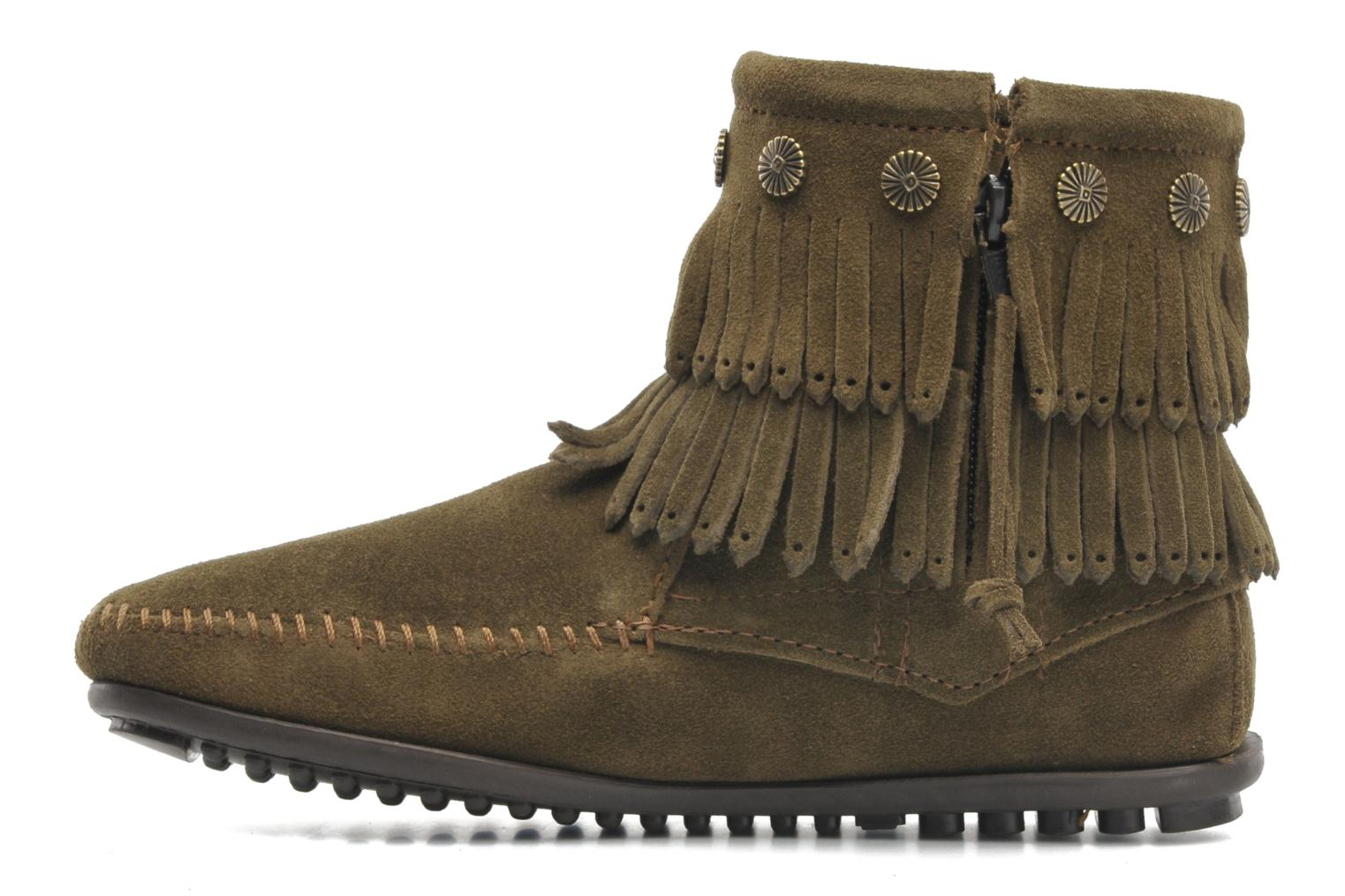 Ankle boots Minnetonka DOUBLE FRINGE BT Green front view